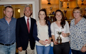 Ladies Club Championship Finalists - From L to R Nick Cahill (GLTC Men's Captain), Conor Woods (Club President), Emma Lendrum (runner-up), Sarah Healy (Winner), Robyn Conway (Ladies Captain)