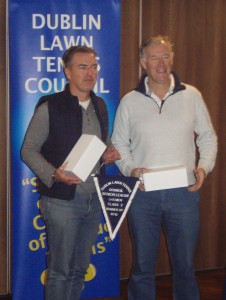 Michael Quinn & Frank Marmion collecting prizes for their team