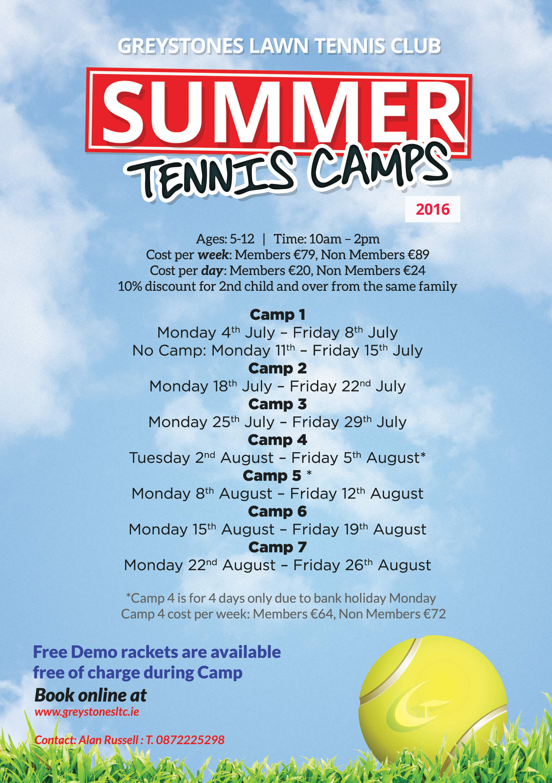 Summer Tennis Camps 2016