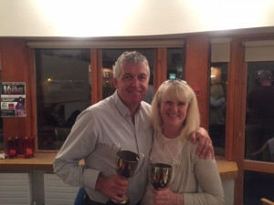 donal o'sullivan and therese ryan winners of the tostal cup greystones ltc april 2016