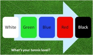 What's your tennis level - white, green, blue, red, black