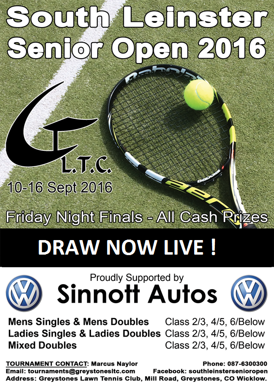 The South Leinster Senior Graded Open – Draw Now Live!