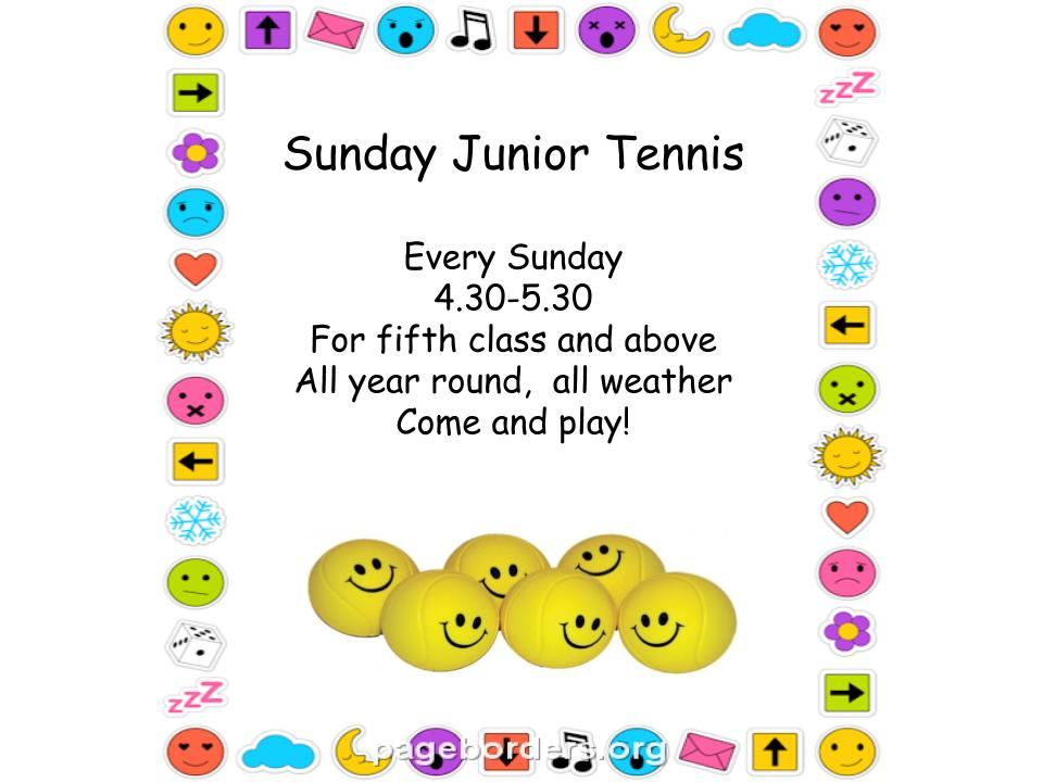 Sunday Junior Tennis – every week at 4.30