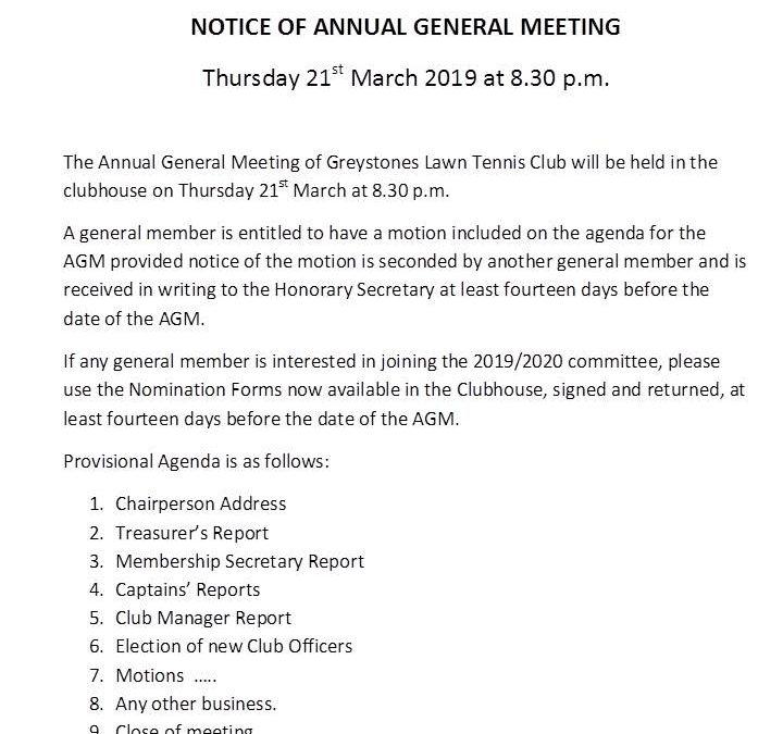 Greystones LTC AGM Notice 2019
