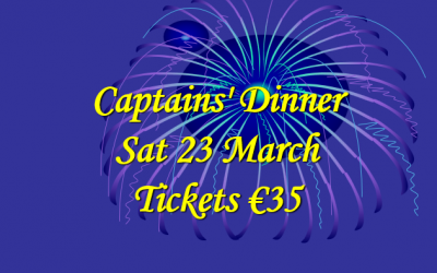 Captains' Dinner – Sat 23 March